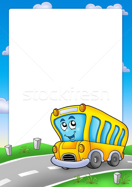 Frame with yellow school bus Stock photo © clairev
