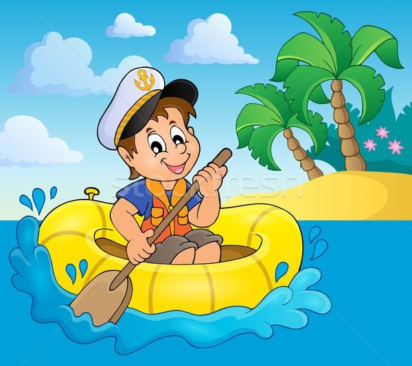 Pequeno marinheiro imagem água feliz criança Foto stock © clairev