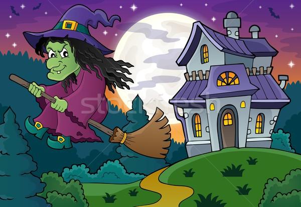 Boszorkány seprű kép ház hold művészet Stock fotó © clairev