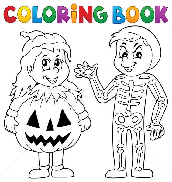 Ausmalbuch · Halloween · Kostüme · Kinder · Buch · malen - vektor ...