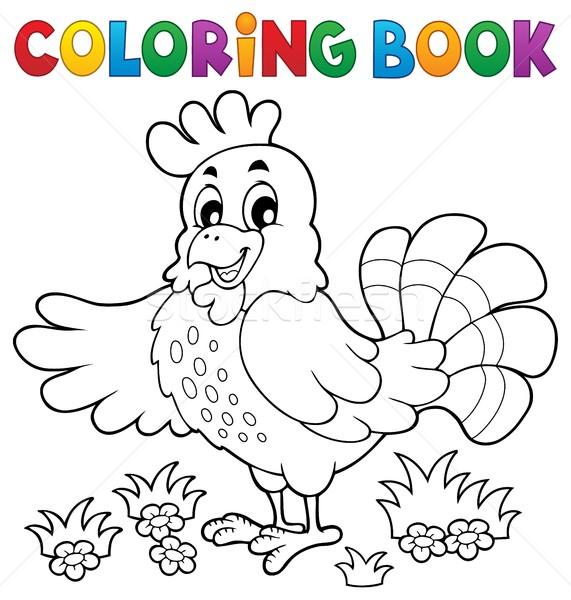 Boyama Kitabı Mutlu Tavuk Gülümseme Kitap Doğa Vektör