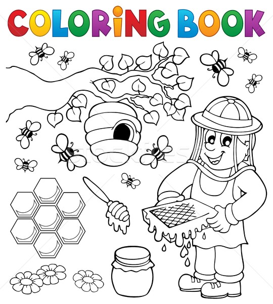 Coloring book with beekeeper Stock photo © clairev