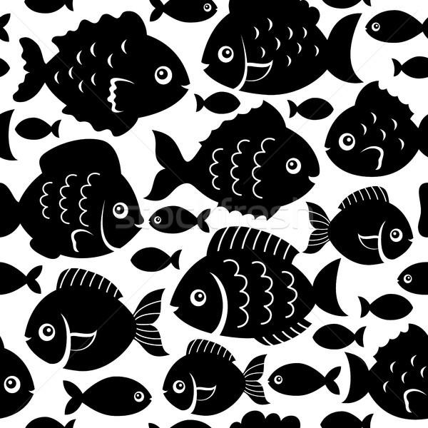 Seamless fish silhouettes theme 1 Stock photo © clairev