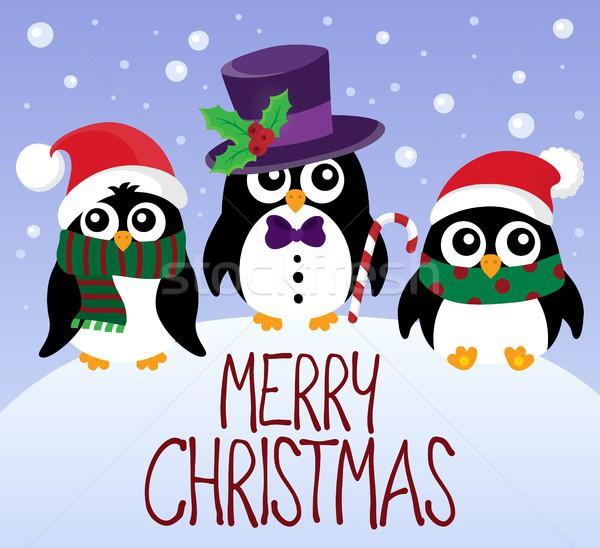 Vidám karácsony téma kép tél madarak Stock fotó © clairev