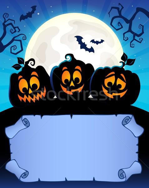 Faible parchemin halloween papier visage Photo stock © clairev