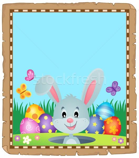 Parchemin lapin de Pâques papier papillon art lapin Photo stock © clairev