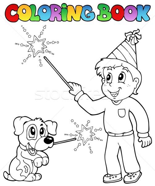 книжка-раскраска мальчика бенгальский огонь собака книга ребенка Сток-фото © clairev
