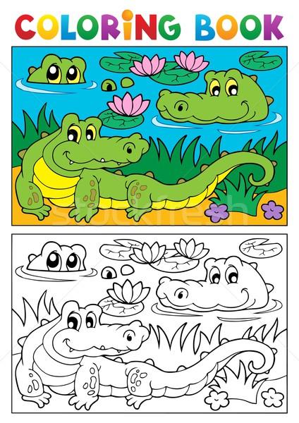 Livro para colorir crocodilo imagem água livro natureza Foto stock © clairev