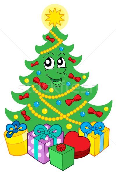 Glimlachend kerstboom geschenken hart licht winter Stockfoto © clairev