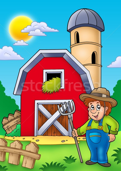 Big Red Barn With Farmer Stock Photo C Clairev