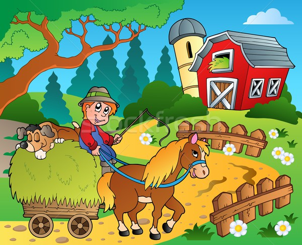 Farm theme with red barn 8 Stock photo © clairev