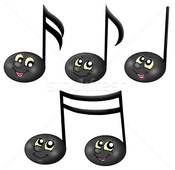 Cute muziek merkt kleur illustratie ogen kunst Stockfoto © clairev
