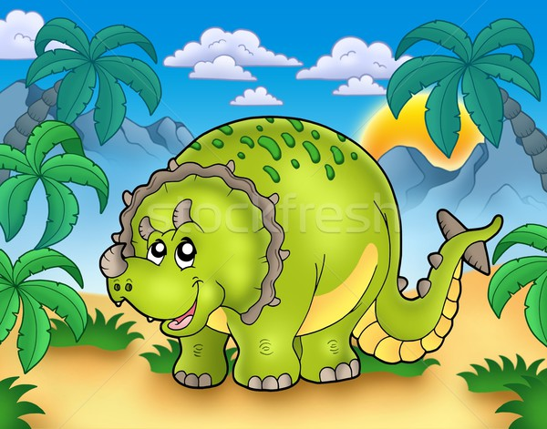 Cartoon triceratops in landscape Stock photo © clairev