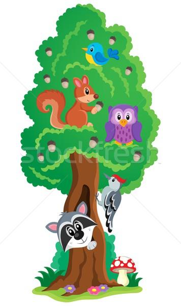 Tree with various animals theme 1 Stock photo © clairev