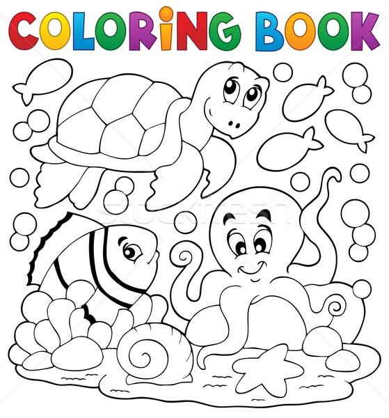 Libro da colorare animali marini libro felice vernice arte Foto d'archivio © clairev