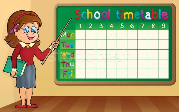 School timetable with woman teacher Stock photo © clairev