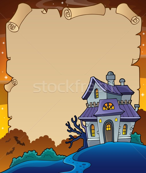 Parchment with haunted house thematics 4 Stock photo © clairev