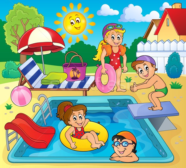 Children by pool theme image 2 Stock photo © clairev
