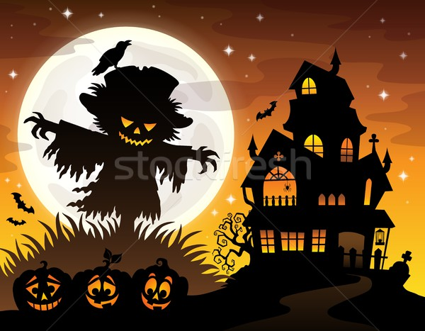 Halloween scarecrow silhouette theme 2 Stock photo © clairev