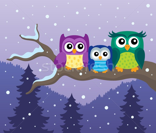 Stylized owls on branch theme image 8 Stock photo © clairev