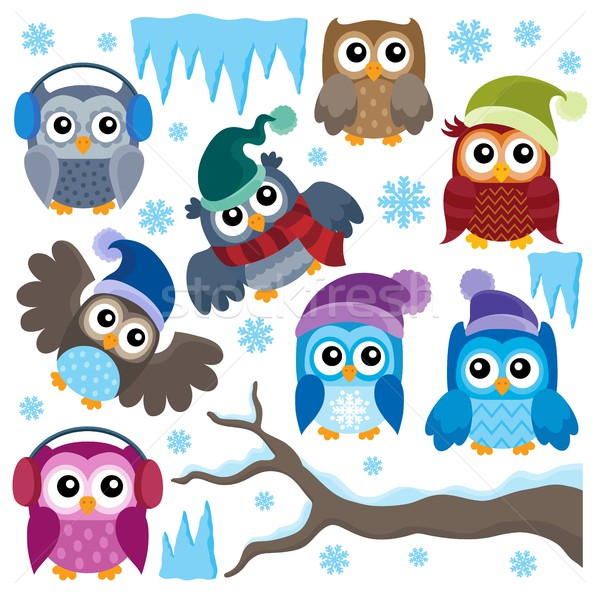 Winter owls thematic set 1 Stock photo © clairev