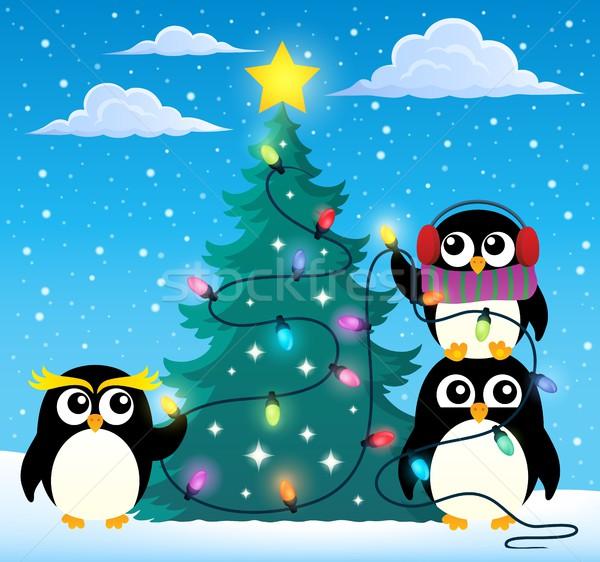 周りに クリスマスツリー ツリー 雪 鳥 鳥 ストックフォト © clairev