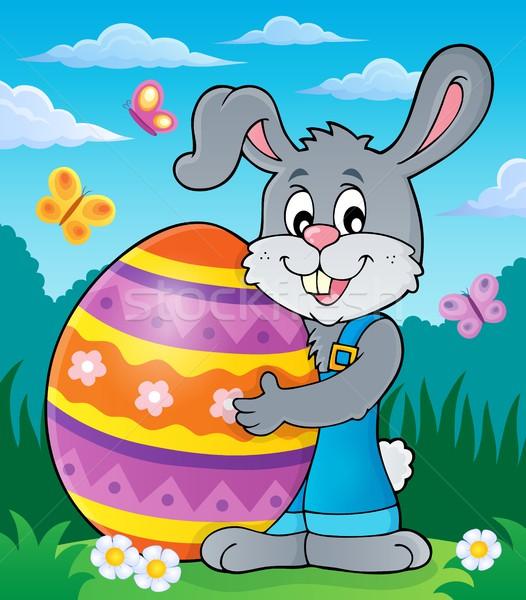 Bunny holding big Easter egg theme 2 Stock photo © clairev