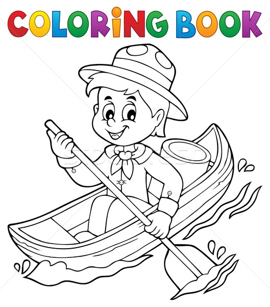 Coloring book water scout boy theme 1 Stock photo © clairev