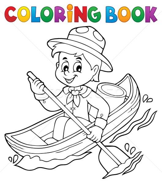 Kleurboek water verkenner jongen glimlach boek Stockfoto © clairev