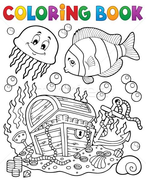 Kolorowanka podwodne książki drewna ryb Zdjęcia stock © clairev