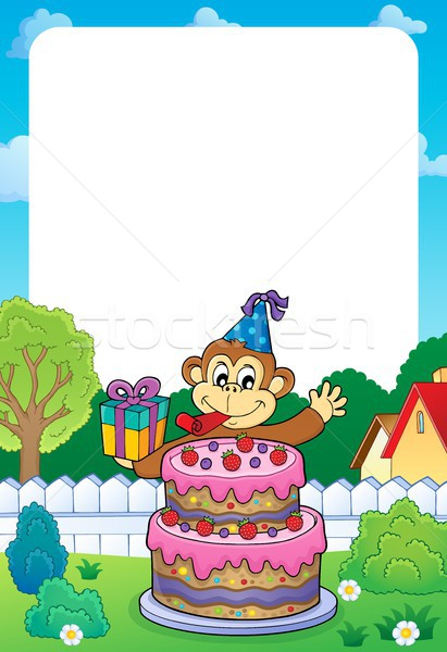 Frame with cake and party monkey theme 1 Stock photo © clairev