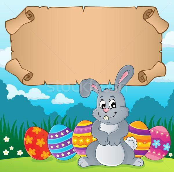 Pergamin Easter bunny papieru szczęśliwy sztuki bunny Zdjęcia stock © clairev
