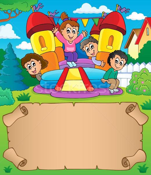 Mały pergamin gry dla dzieci papieru dziewczyna wiosną Zdjęcia stock © clairev