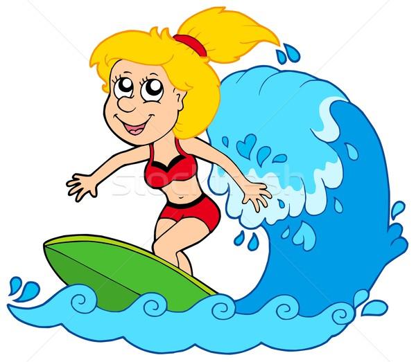 Stock photo: Cartoon surfer girl