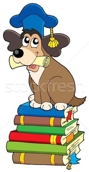 Dog teacher on pile of books Stock photo © clairev