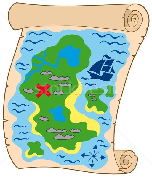 старый пергамент Карта сокровищ карта морем дизайна судно Сток-фото © clairev