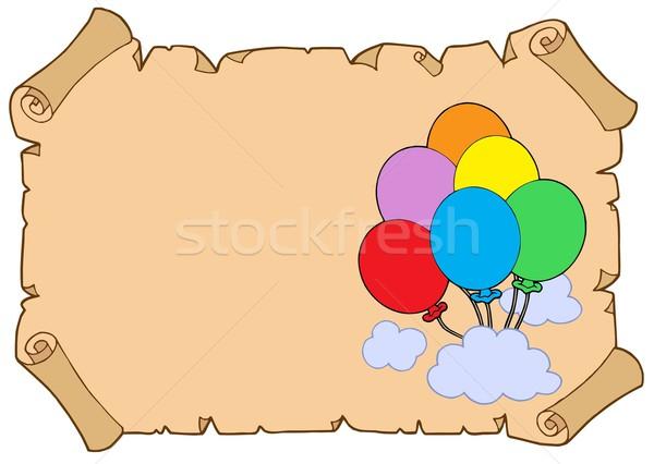 Pergamino papel fiesta diversión nube Foto stock © clairev