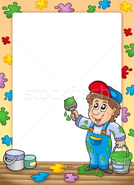 Keret rajz ház festő szín illusztráció Stock fotó © clairev