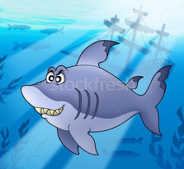 Grande azul tubarão naufrágio cor ilustração Foto stock © clairev