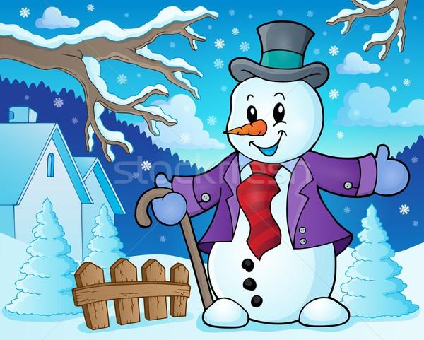 Zimą snowman temat obraz uśmiech sztuki Zdjęcia stock © clairev