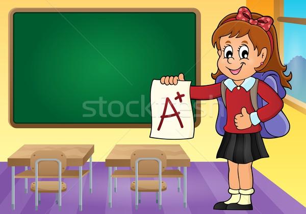 School girl with A plus grade theme 3 Stock photo © clairev