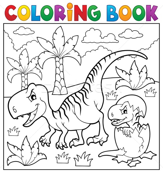 Coloring book dinosaur theme 9 Stock photo © clairev