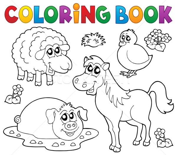 Coloring book with farm animals 4 Stock photo © clairev