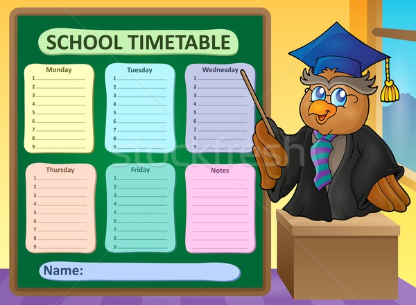 Weekly school timetable topic 8 Stock photo © clairev
