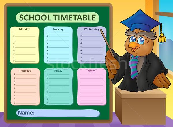 Heti iskola időbeosztás téma madár asztal Stock fotó © clairev