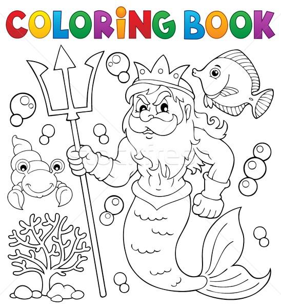 Coloring book Poseidon theme 1 Stock photo © clairev