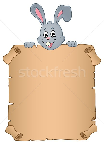 Lurking Easter bunny with parchment 3 Stock photo © clairev