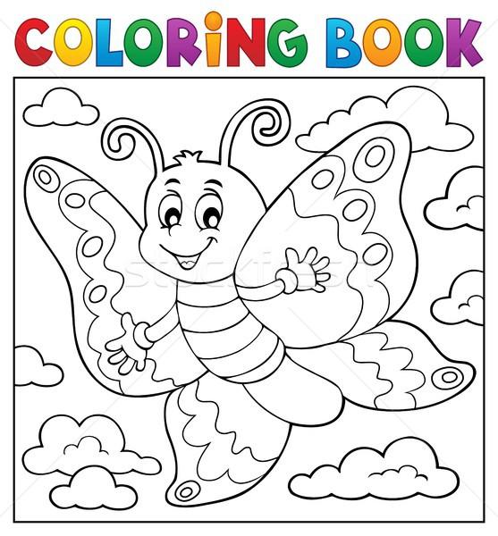 Livro para colorir feliz borboleta tópico natureza pintar Foto stock © clairev