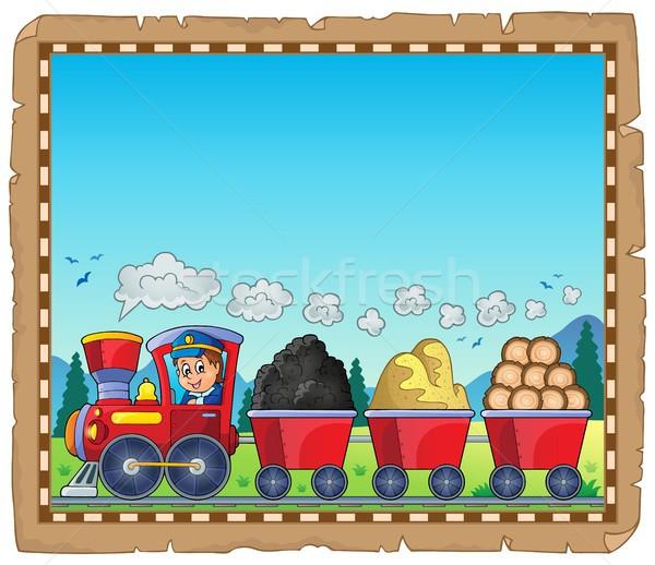 Vonat különböző anyagok pergamen papír fa Stock fotó © clairev