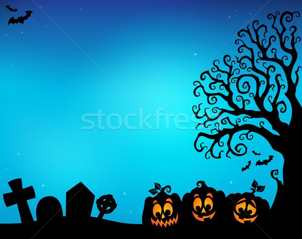 Halloween tree half silhouette theme 5 Stock photo © clairev